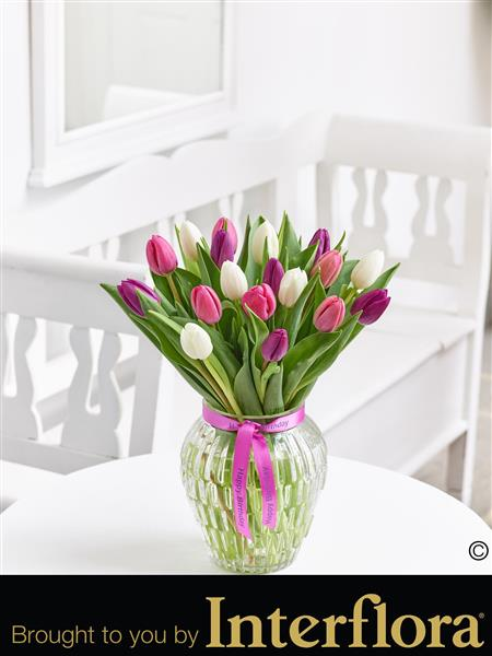 Happy Birthday Pink Elegance Tulip Vase