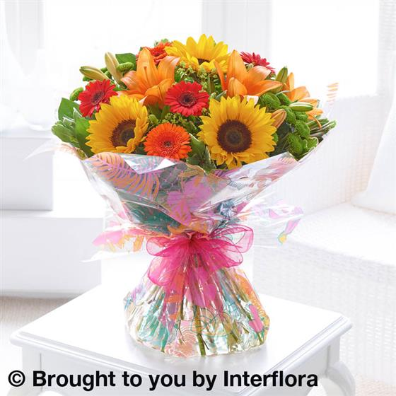 Seasonal Splendour Sunflower & Lily Hand-tied