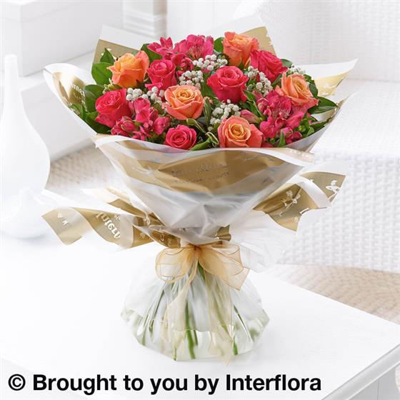 Large Summer Sunset Rose & Alstroemeria  Hand-tied